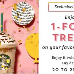 Starbucks: 1-for-1 Treat on Your Favourite Drinks with Starbucks Card!