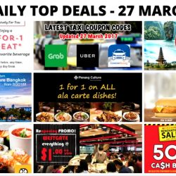 BQ's Daily Top Deals: Starbucks 1-for-1 Drink, New Taxi Codes, AirAsia Return for FREE, Getaway to Bangkok from $188 on SQ, Sushi Express $1++ Promo, Penang Culture 1-for-1 & More!