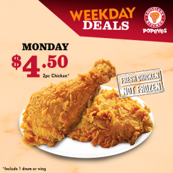 [Popeyes Louisiana Kitchen Singapore] Let this deal chase the Monday blues away for you.