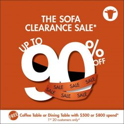 [Sofa Outlet] FREE coffee table or dining table when you spend $500 and $800 respectively at our Sofa Clearance Sale!