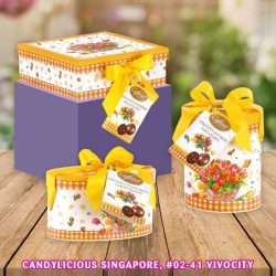 [Candylicious] New refined and elegant Caffarel Spring Chocolate comes in square, oval and cylinder box.