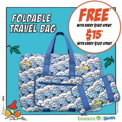 [Bossini Singapore] Get a Smurfs Foldable Travel Bag for FREE with $180 or simply top up $15 when you purchase $120 or
