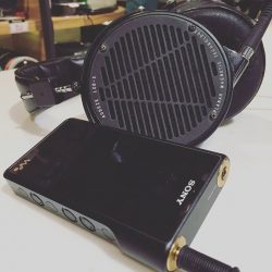 [Stereo] Back in black rig featuring Audeze LCD-X headphones with Sony NW-WM1A audio player.