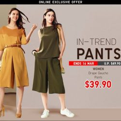 [Uniqlo Singapore] These comfortable Women's Drape Gaucho Pants are in-trend and go great with a variety of different tops.