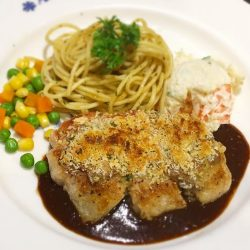 [Ma Maison Restaurant Singapore] Today's Daily Lunch at Ma Maison at Takashimaya and Anchorpoint is Pork Steak with Diable Sauce ポークステーキ小悪魔風Comes with Soup,