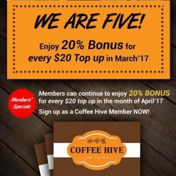 [Coffee Hive] Come down to our Robinson Outlet and get your free loyalty card today when you top up $20.