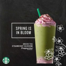 [Starbucks Singapore] Cheers to a delightful union of our signature Green Tea Frappuccino and freeze-dried strawberry bits that sit between two