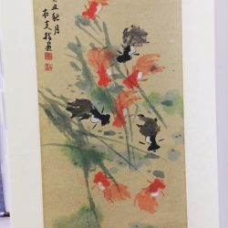 [Goshen Art Gallery] Goldfish painting(60x30cm) by renowned Singapore artist of finger painting Wu Zai Yan (1911-2001).