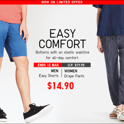 [Uniqlo Singapore] The Women's Drape Pants and Men's Easy Shorts will keep you comfortably snug, thanks to their lightweight material