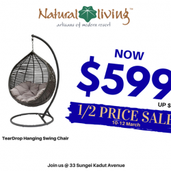 [Natural Living] Featuring our TearDrop Hanging Swing Chair, our HALF PRICE SALES is still happening this weekend!