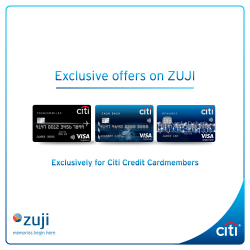 [Citibank ATM] Make your next holiday a memorable one when you book your hotels, flights and packages on ZUJI with Citi Credit