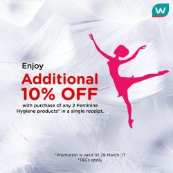 [Watsons Singapore] Shop for Feminine Hygiene products and enjoy ADDITIONAL 10% OFF!
