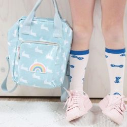 [PriviKids] Powder blue patent backpack with those cute white rabbits.