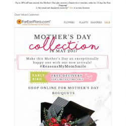 [FarEastFlora] Up to 30% off new arrivals for Mother's Day + receive a Swarovski e-Voucher when you order online!