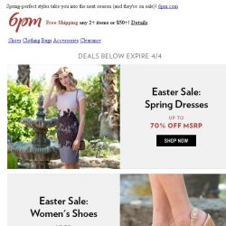 [6pm] Easter Sale: Clothing, Shoes & More!