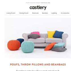 [Castlery] New Arrivals - Poufs, Throw Pillows and Beanbags!