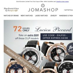 [Jomashop] 72 HOURS: Raymond Weil Diamond Watch $150 Coupon • Lucien Piccard Montana Retrograde Watches $50 Shipped