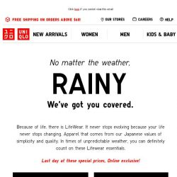 [UNIQLO Singapore] No matter the weather, we got you covered!