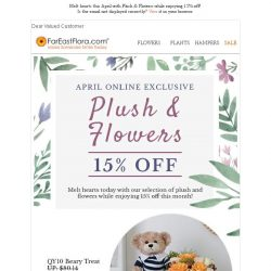 [FarEastFlora] Melt hearts this month with our Plush & Flowers & enjoy 15% off!