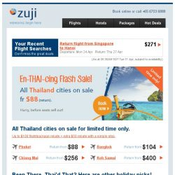 [Zuji] All Thailand cities on sale fr $88!