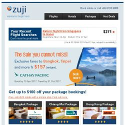 [Zuji] Cathay Pacific Sale! Bangkok & Taipei packages fr $266.