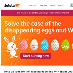 [Jetstar] Hunt for the missing eggs and WIN up to $750 worth of Jetstar flight vouchers!