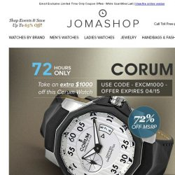[Jomashop] 72 HOURS: Corum Admiral's Cup $1000 Coupon • Tissot Titanium Watches $240 Shipped