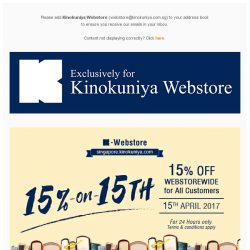 [Books Kinokuniya]  24 hours only promotion! Enjoy 15% discount exclusively on Kinokuniya Webstore Singapore on 15th April 2017 for all customers!