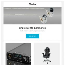 [Massdrop] Shure SE215 Earphones, XDuoo XD-05 DAC/Amp, E-Blue Mazer Gaming Chair (Special Edition) and more...