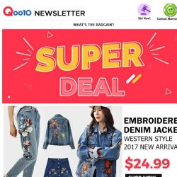 [Qoo10] Price Down!!! Embroidered Denim Fashion>> Jacket & Bottoms | 2017 Hot Style >> S$24.99
