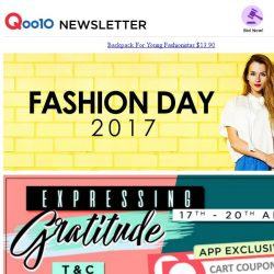 [Qoo10] [Fashion Day EXCLUSIVE] $5 + $30 Coupon Rewards!! Casual Backpacks $13.90 ONLY