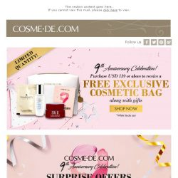 [COSME-DE.com] Free Gift for COSME-DE 9th Anniversary +15% off on All orders!