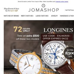 [Jomashop] 72 HOURS: Longines $500 Coupon • Ray-Ban Polarized Sunglasses $89.99 Shipped