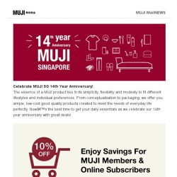 [Muji] Last weekend of Members 10%!