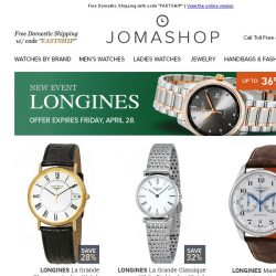 [Jomashop] Longines • Marc Jacobs • Breguet • Anne Klein • Designer Apparel Clearance