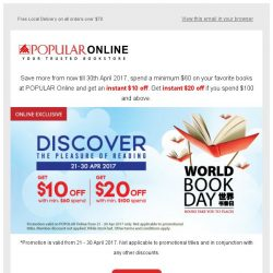 [Popular] Celebrating World Book Day with $20 Instant Rebate!