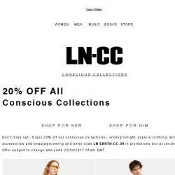 [LN-CC] Enjoy 20% off Conscious Collections and celebrate Earth Day: Haeckels / VEJA / Eckhaus Latta / PLANT