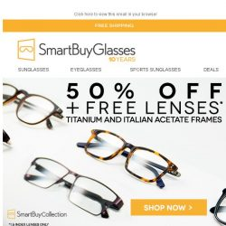 [SmartBuyGlasses] 50% off + Free Lenses. How's that?