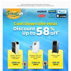 [Giant] Cooldown The Heat, Cooldown The Heat, Save up to 58% on Air Cooler, and more...
