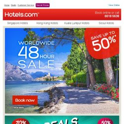 [Hotels.com] You only have 48 hours to save up to 50% + extra coupon!