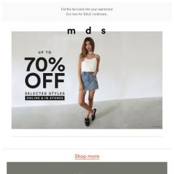 [MDS] Up to 70% off selected styles
