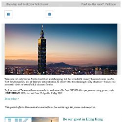 [Cathay Pacific Airways] E-newsletter exclusive: Taiwan from SGD378 all-in
