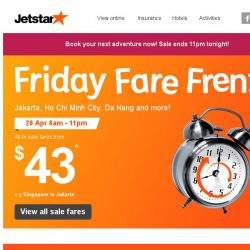 [Jetstar] Frenzy fares for travel in May & June! Ho Chi Minh City, Da Nang and more!