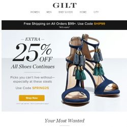 [Gilt] It's still on: Extra 25% Off All Shoes + The Vintage Shop, Statement Extras Feat. Anya Hindmarch, Ubbi Diaper Pails and More Start Today at Noon ET