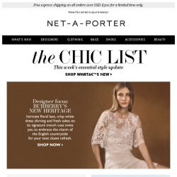 [NET-A-PORTER] New Burberry, fresh florals and more