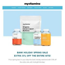 [MyVitamins] Bank Holiday SALE | Extra 35% off The Entire Site!