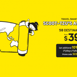 Scoot/Tigerair: Early bird sale fares from $39 for travel from now till March 2018!