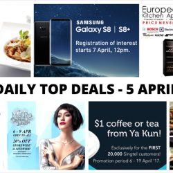 BQ's Daily Top Deals: Samsung Galaxy S8 / S8+ Prices & Preorder Details, Mega Discount Store European Brand Kitchen Appliances Fair, 1-for-1 mains at TCC, 1-for-1 dining deals with your DBS/POSB card & More!
