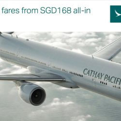 Cathay Pacific: Two-to-travel fares from SGD$168 all-in per person to Bangkok, Taipei, Kaohsiung, Taichung & Vancouver