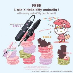 [L'zzie] Redeem one umbrella with any Hello Kitty items purchased in a single transaction online at www.